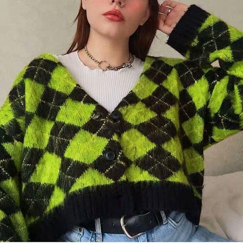 Cárdigan mujeres suéteres de punto argyle Vintage, suéter kawaii de mohair, suéter coreano de invierno, ropa 2020