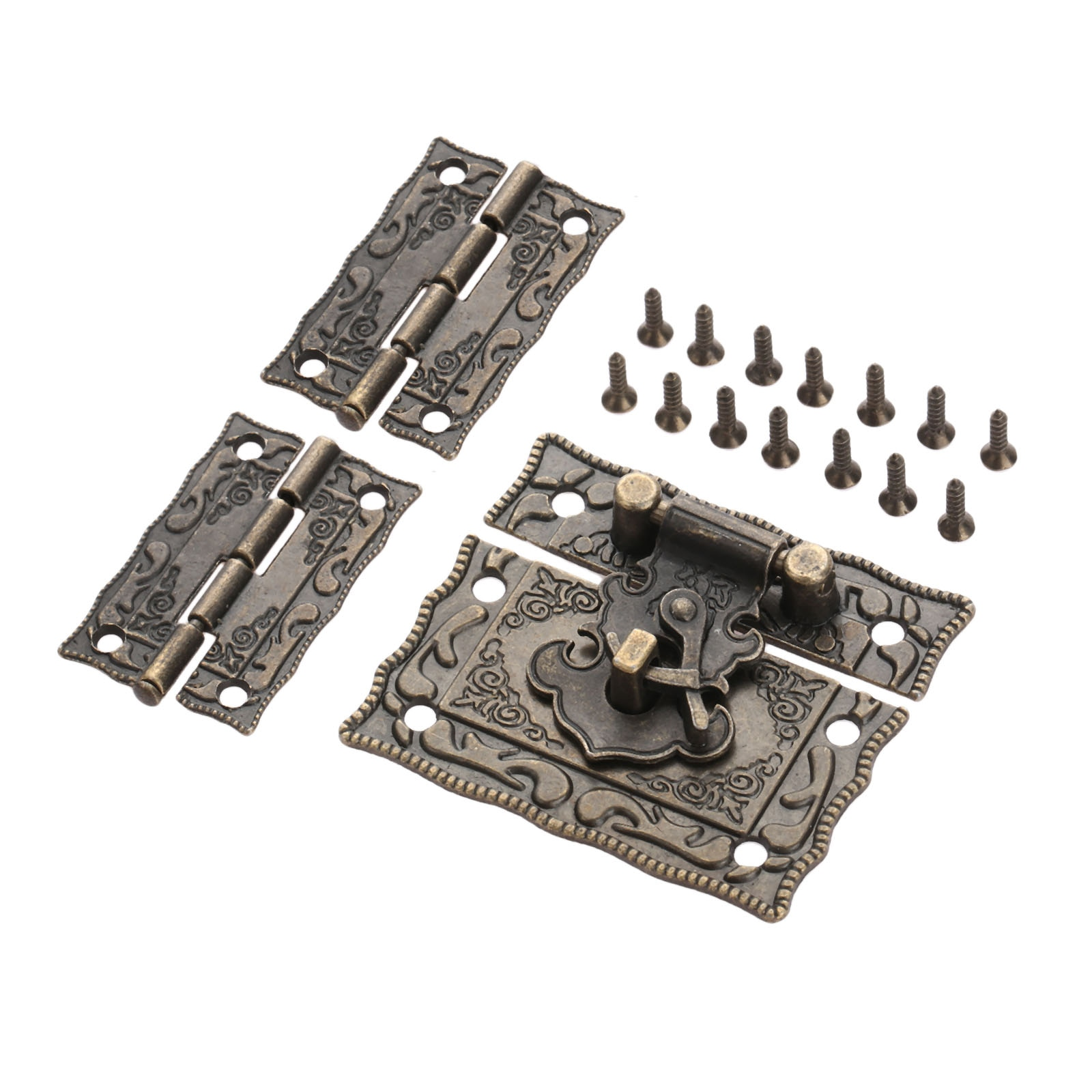 Antique Bronze Padlock Lock Jewelry Wood Box Latch Hasp Clasp +2pcs Suitcase Cabinet Hinge Vintage F