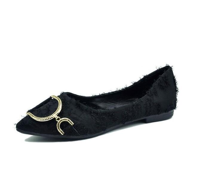 Zapatos náuticos a la moda para mujer, zapatos planos de punta estrecha para oficina para mujer, zapatos planos elegantes de marca de lujo de talla grande
