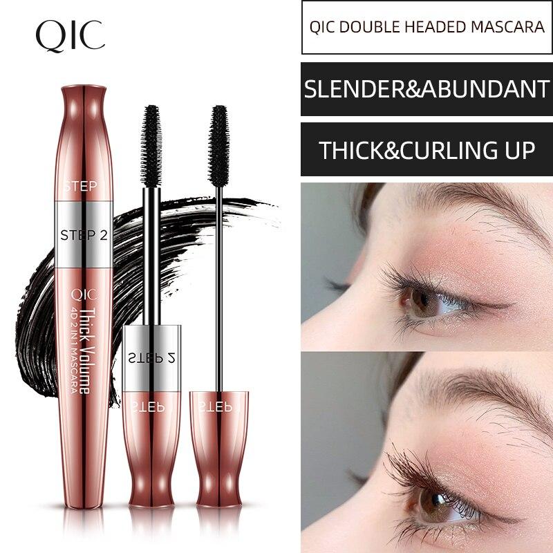 2 en 1 negro grueso Delgado Curling rimel impermeable pestañas crema máscara doble-cabeza dos efecto pestañas alargamiento de belleza cosmética