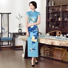 Grande taille M-6XL robes chinoises traditionnelles Cheongsam fleur oiseau impression longue Qipao Sexy fendu Tang Costume dame Qipao