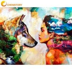 Chenistory beleza e lobo pintura a óleo por números para adultos artesanal diy quadro 40x50 sobre tela decorações de casa