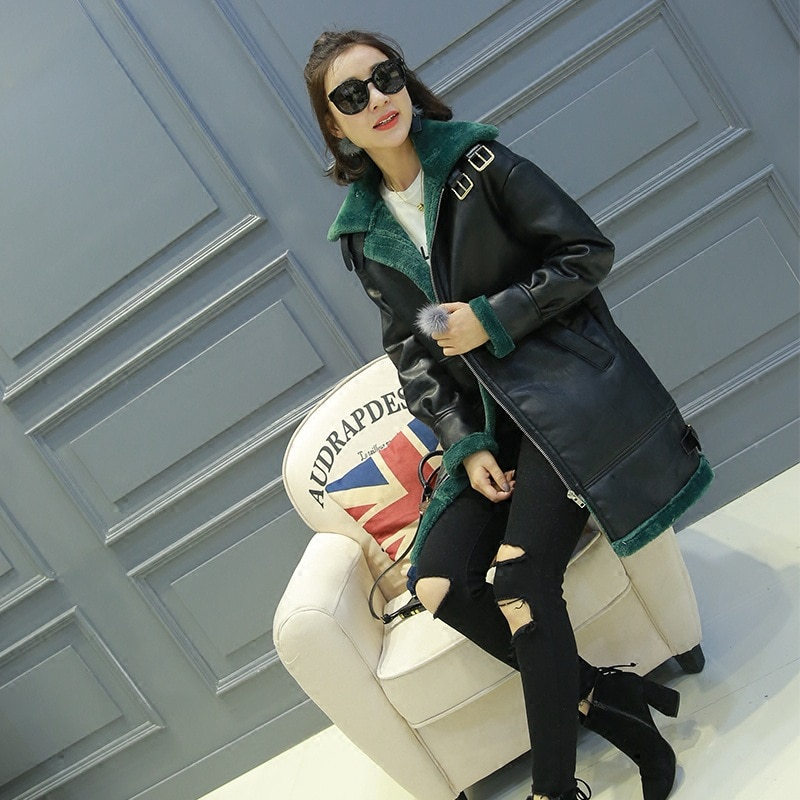 Autumn and winter Korean ladies fur one mid-length plus velvet thick sheepskin shearing thin leather jacket enlarge