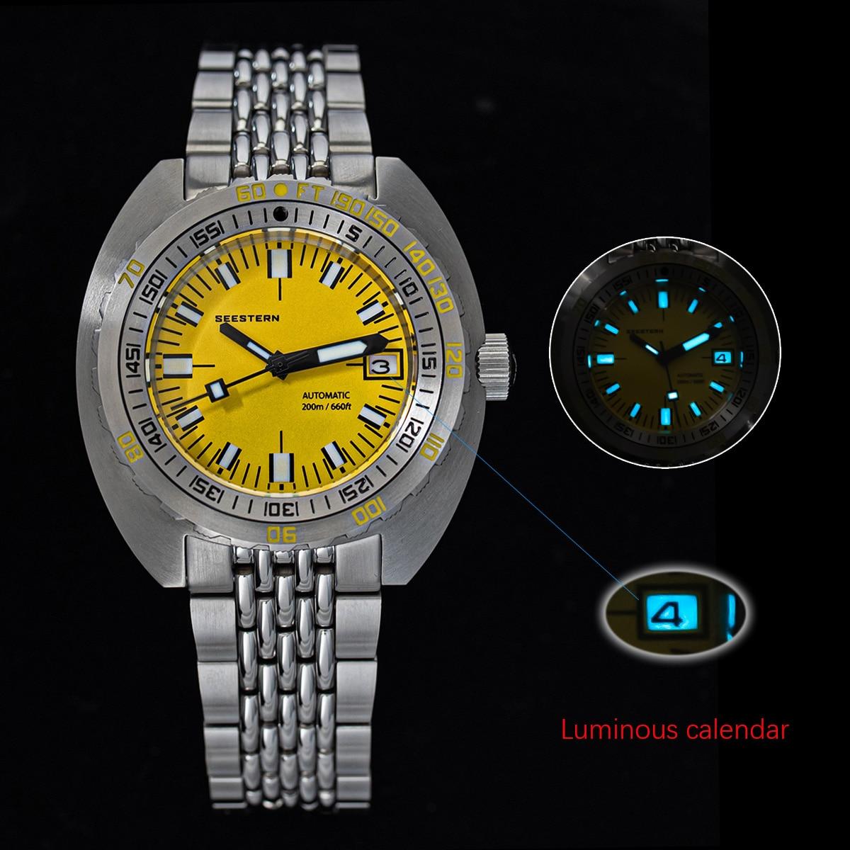 أفضل ماركة مضيئة غواص ساعة التلقائي الرجال تاريخ 200 متر بدوره سوار سيستيرن ساعة اليد الرجعية SUB300T الميكانيكية الياقوت غلاس