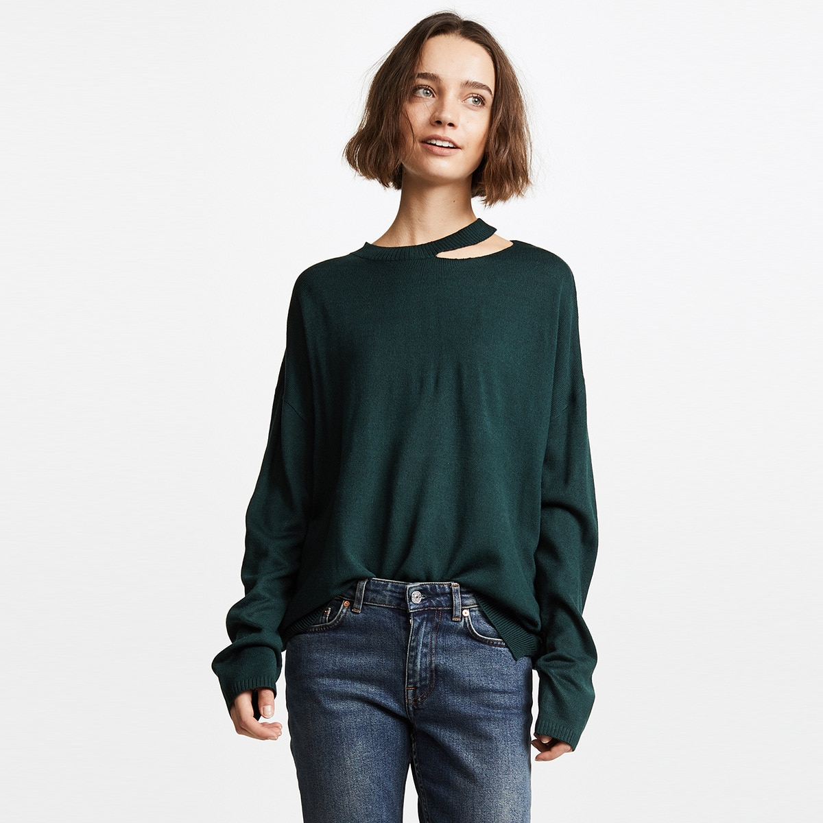 New European And American Fashion Simple Versatile Solid Color Neckline Asymmetric Hollowed Out Sweater