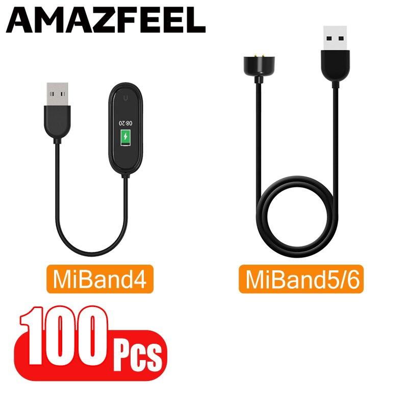 100 قطعة/الحزمة شواحن ل شاومي Mi الفرقة 6 Miband 5 معصمه سوار USB شحن كابل ل MiBand 5 4 3 شاحن كابل خط