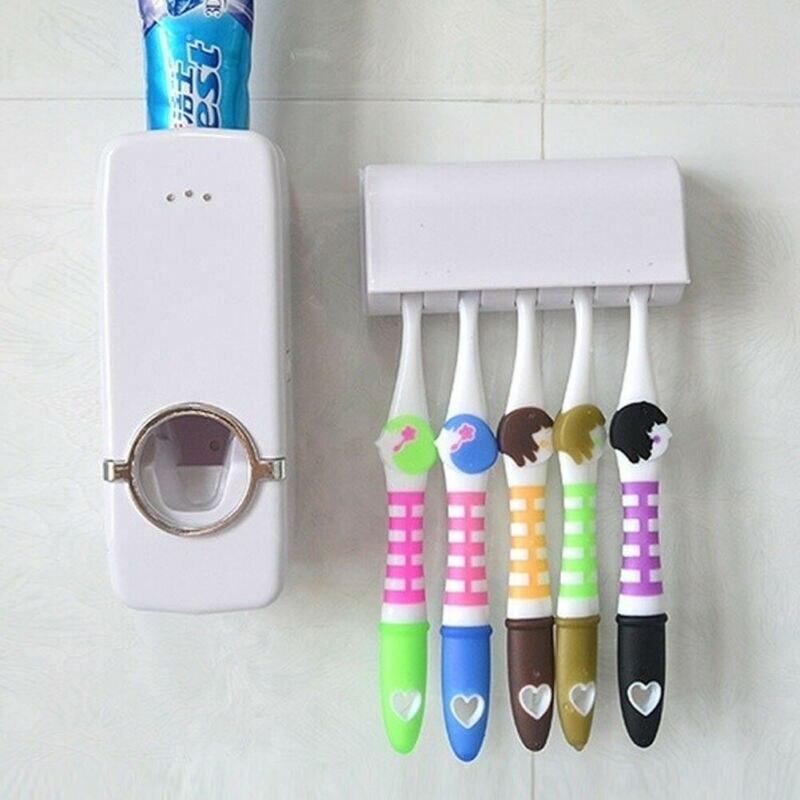Dispensador automático inteligente de pasta de dientes automático + juego de estante organizador de almacenamiento colgante de 5 cepillos de dientes soporte de pared exprimidor caliente