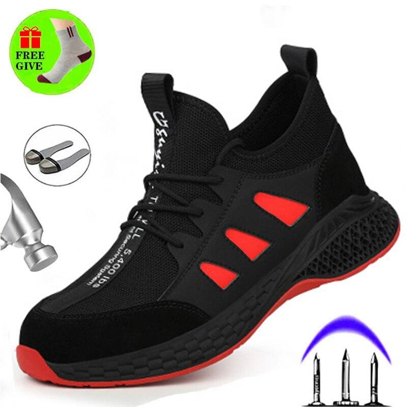 أحذية أمان الرجال الصلب رئيس تنفس أحذية واقية أحذية عمل سحق آمنة مكافحة ثقب جيل الدهون