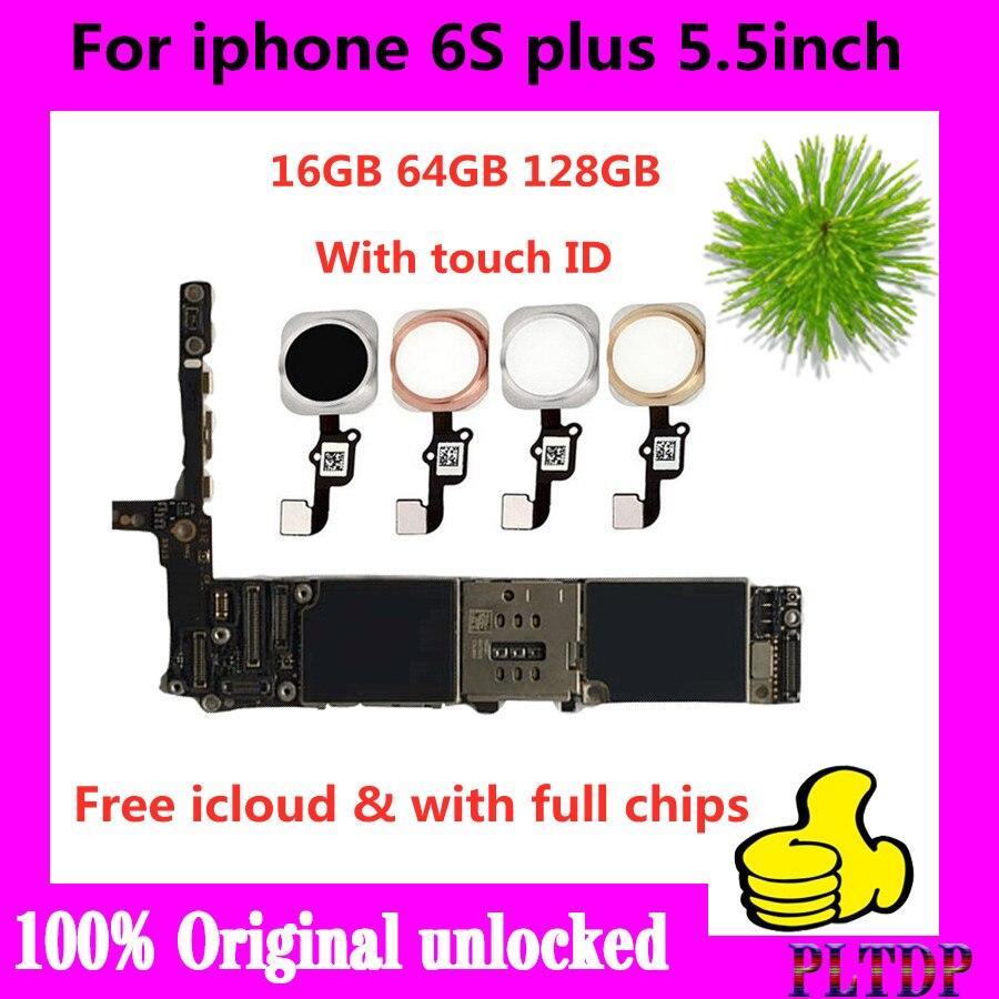لوحة أم لجهاز iphone 6s plus, لوحة أم لجهاز iphone 6S Plus مع معرف اللمس ، غير مقفلة لهاتف iphone 6SP 6s plus لوحة منطقية 16gb 64gb 128g مجاني icloud جيد
