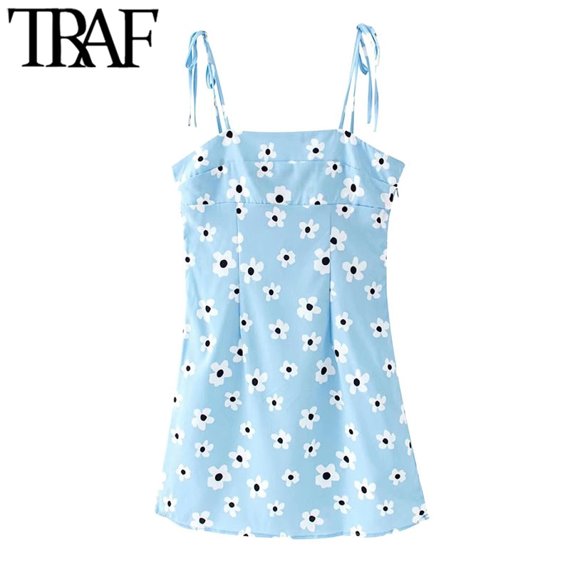 TRAF Women Chic Fashion Floral Print Mini Dress Vintage Backless Side Zipper Bow Tie Straps Female Dresses Vestidos
