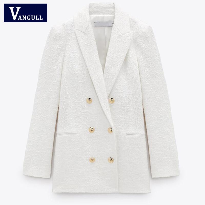 Vangull Autumn Fashion Women White Tweed Blazers Jacket Chic Button Office Suit Coat Lady Elegant Do