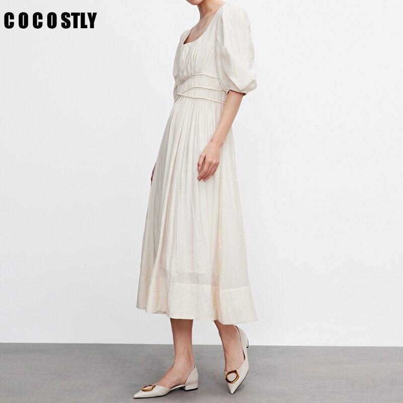 النساء الوافدين الجدد شيك تصميم أنيق الدانتيل متابعة الصيف 2021 Feminine Vestidos ريترو Vintage نمط الصلبة فستان طويل