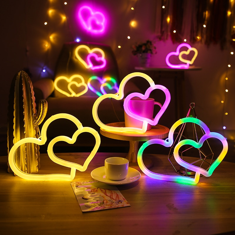 Neon Heart Light Neon Signs for Wall Decor Atmosphere LED Neon Light Neon Sign for Kids Room Valentine's Day Party Wedding