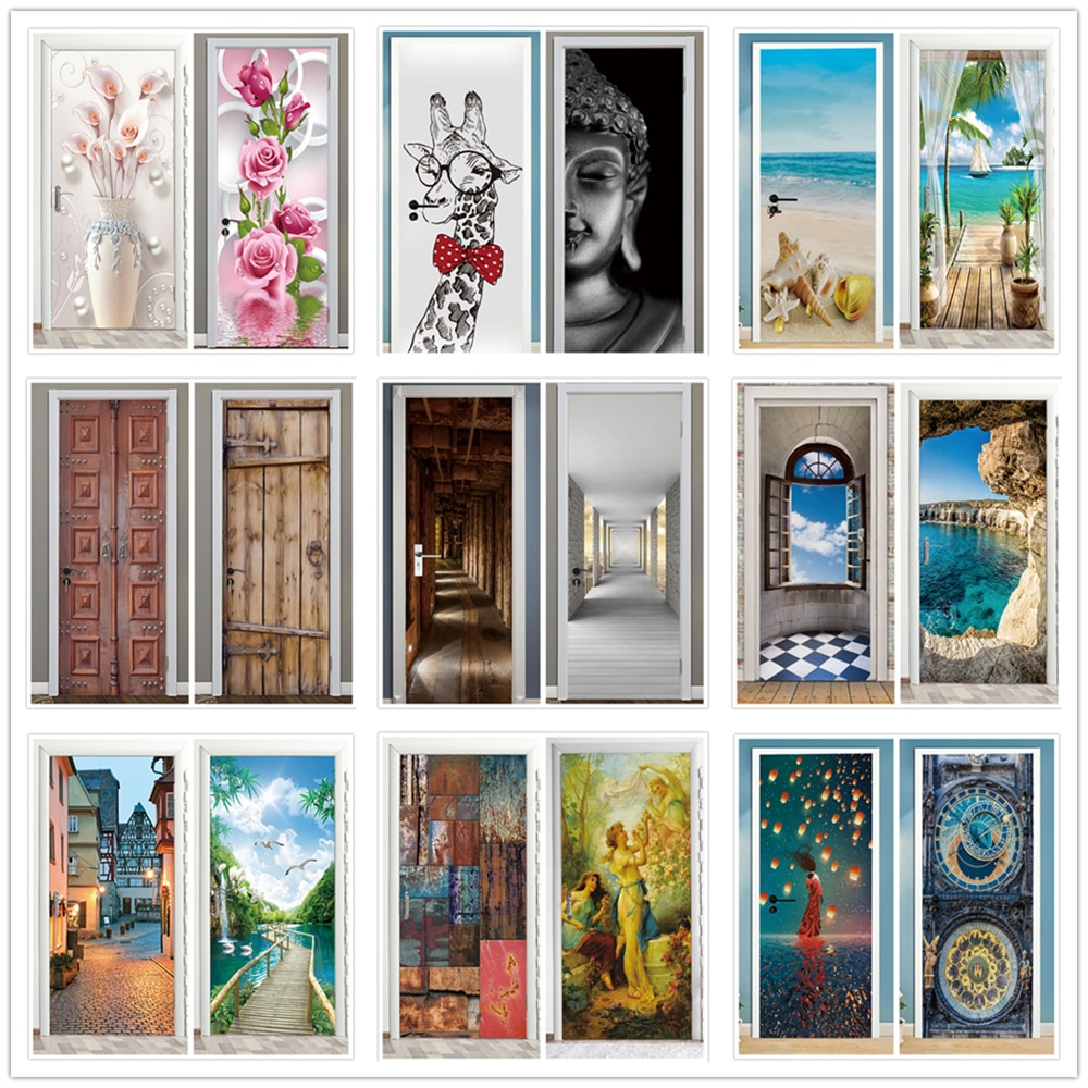 Pegatinas de puerta de paisaje 3D, Vinilos removibles Para Puertas, papel tapiz...