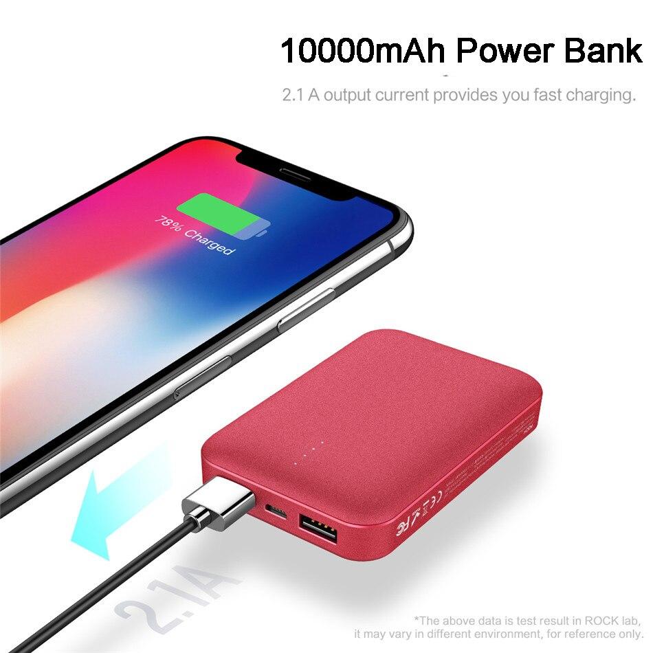 ROCK P51 10000mAh batterie de puissance Mini Portable double USB batterie de batterie de puissance pour iPhone pour SamSung pour Xiaomi pour Huawei