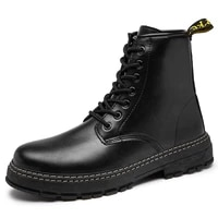 autumn large size men boot shoes fashion work boots leather motorcycle boots british ankle boot outdoor solid work shoes