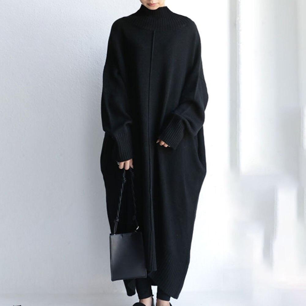 Women Spring Winter Thick Turtleneck Long Sweater Dress Ladies Long Sleeve Korean Solid Straight Split Knitted Pullover Dresses