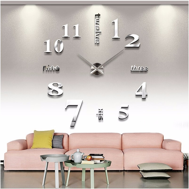 Reloj de pared grande 3D DIY, reloj de pared, diseño moderno, decoración...