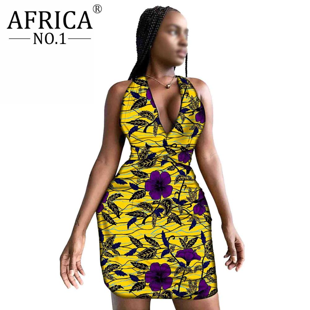 Sexy Mini Women Party Dress Female Bodycon African Floral cotton Wax V-neck Casual sleeveless Slimness dashiki outfits  A2025012