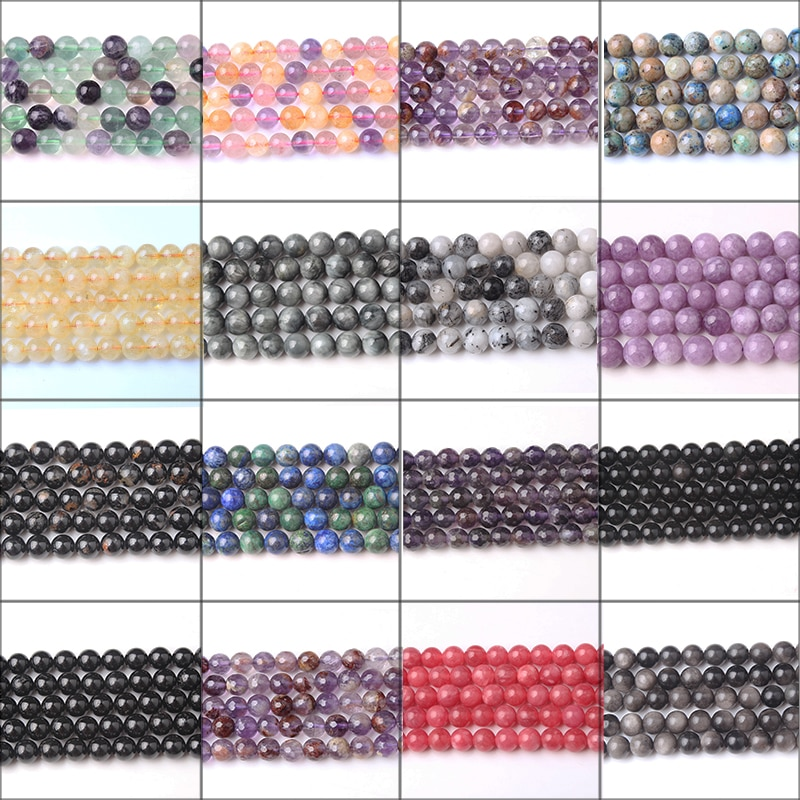 LingXiang Fashion Natural Jewelry  Loose Beads 4/6/8/10/12mm DIY Woman Bracelet Necklace Ear Stud Accessories Series
