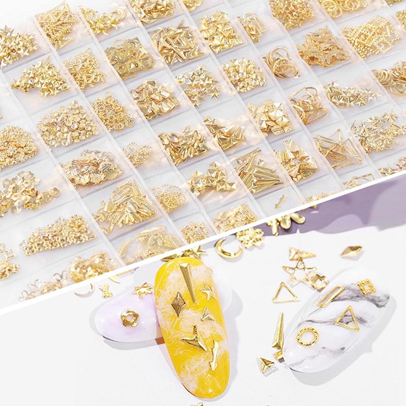 1 bolsa 17 patrón hueco Metal remache tachuelas cuadrado redondo Tips ornamento DIY Nail Art Design accesorios para esmalte de Gel