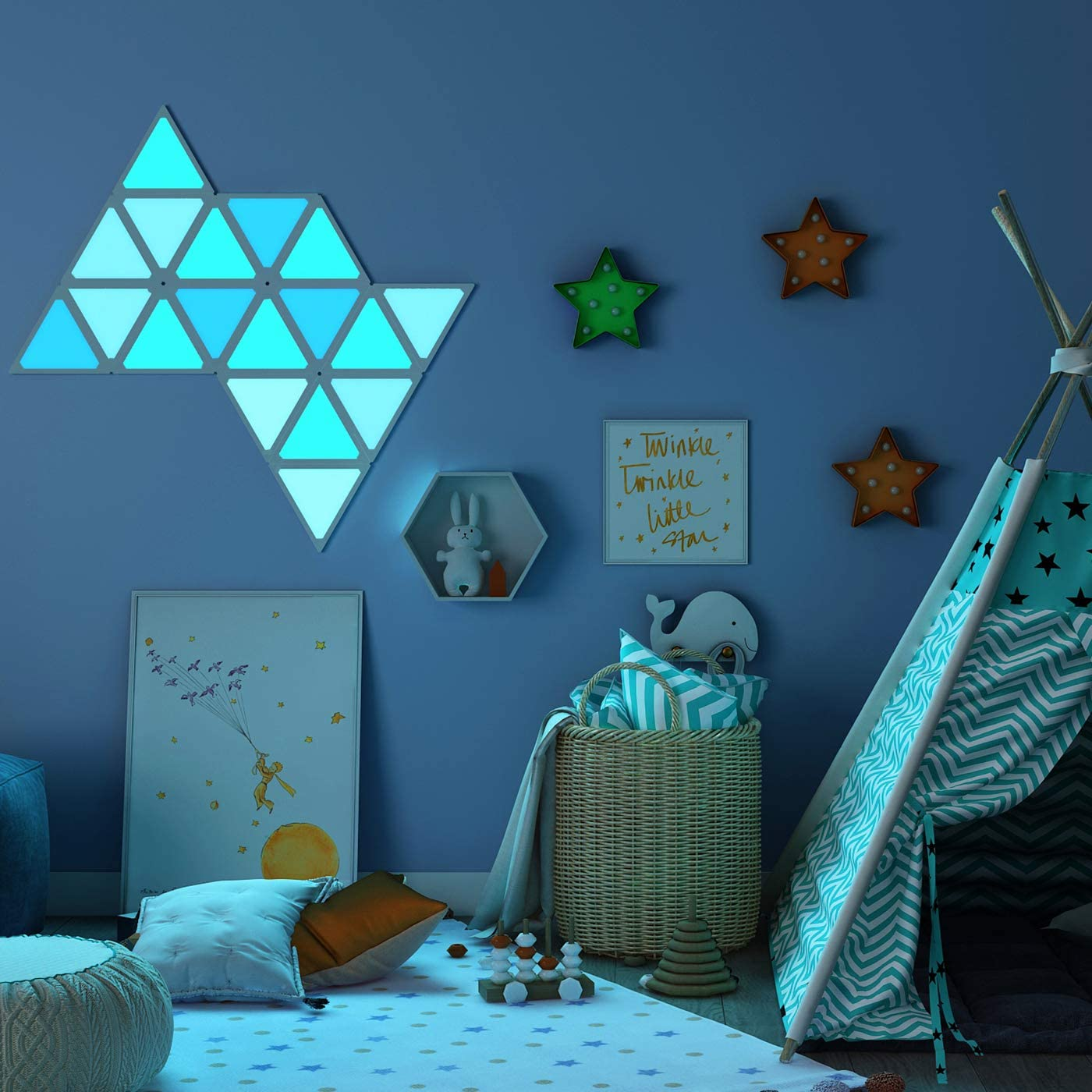 Triangle Wall Light Smart LED Modular Light Panels Touch-Sensitive Multicolor RGBW Night Light for Room Gaming Room Party Decor