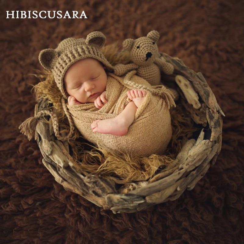 Newborn Baby Photo Props Accessories Bear Hat + Doll 2pcs Sets Infant Bebe Boy Girl Toy Bonnet Handmade