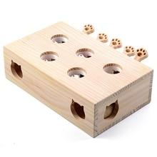 Solidne drewniane kot puzle zabawki interaktywne Whack Mole kształt chomika śmieszne drewniane pudełko do gry akcesoria dla kotów