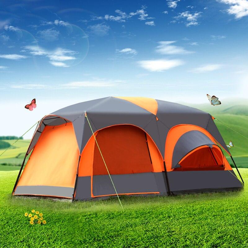 Uma sala de estar dois quartos ultralarge dupla camada à prova dwaterproof água família festa ao ar livre barraca acampamento barraca grande gazebo