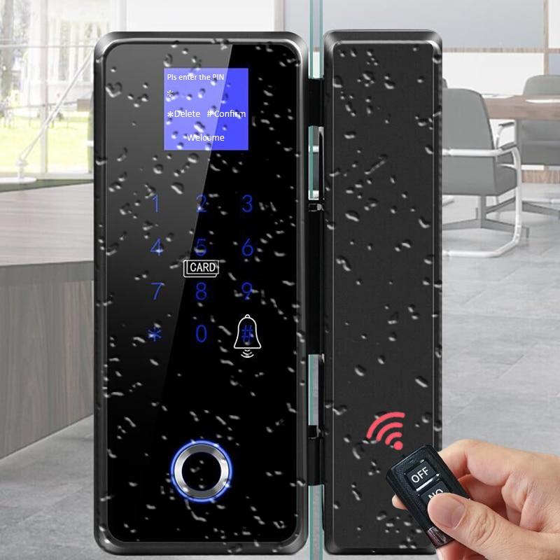 Review Class Door Lock Outdoor Waterproof Sliding Door Biometric Fingerprint  with hook touch keyboard smart rfidlock
