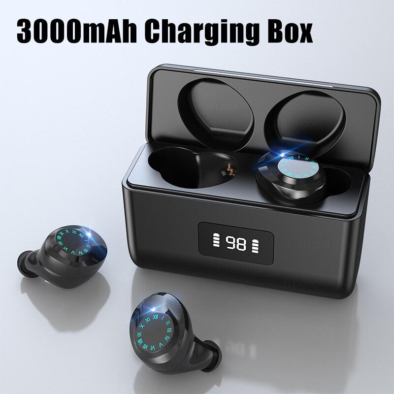 Auriculares TWS, inalámbricos por Bluetooth 5,0, Auriculares deportivos impermeables con micrófono y caja de carga de 3000mAh, auriculares HiFi 9D