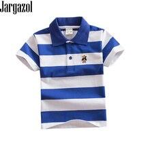 Jargazol Polo de manga corta Camiseta niños rayas bebé niño Camisa camisas de Polo de dibujos animados bordado Niño traje niños ropa deportiva