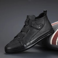 men high top leather sneakers mens autumn and winter one step plus velvet cotton shoes 2021 new mens casual leather shoes