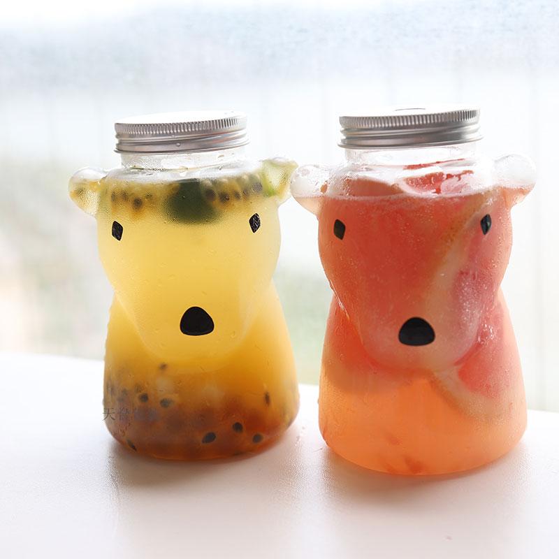 10 قطعة عالية الجودة الإبداعية PET البلاستيك واضح الحليب زجاجة شاي 500 مللي كوب شاي فوار حفلة الجليد القهوة الزبادي عصير أكواب مع أغطية