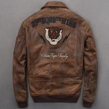 2020 Vintage Brown Embroidery Pilot Jacket Plus Size XXXXL Genuine Cowhide Autumn Slim Fit Military Aviator Leather Coat