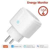 tuya wifi eu smart plug 16a 220v adapter wireless remote voice control power monitor timer socket for google home alexa