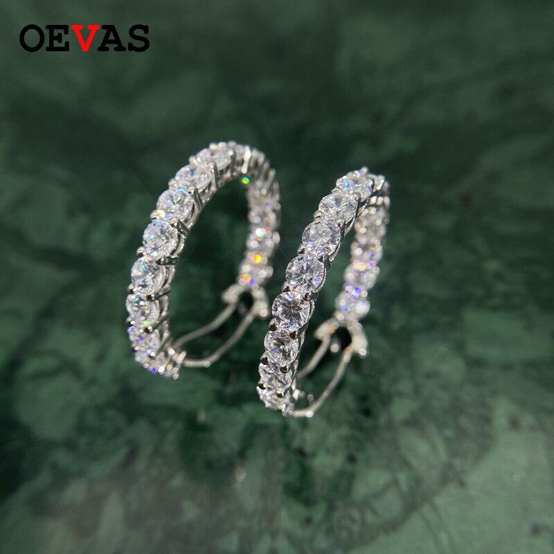 Oevas luxo 925 prata esterlina brilhante moissanite hoop brincos instrução faísca 5a + zircon brinco nupcial casamento jóias presente
