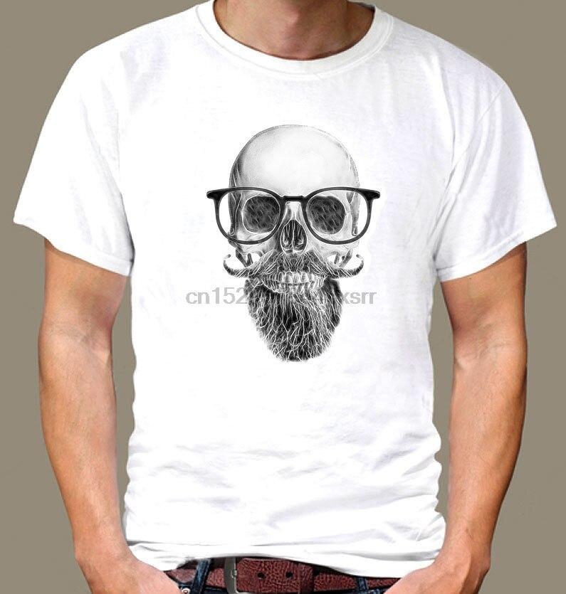 Scull Cool Beard con gafas de algodón blanco de manga corta 2018 nuevos hombres estilo de verano Casual camiseta