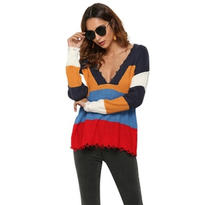 Autumn Deep V Neck Patchwork Striped Hollow Out Long Sleeve Office Lady  Elegant Loose Vintage Female Knitted Tops Sweater