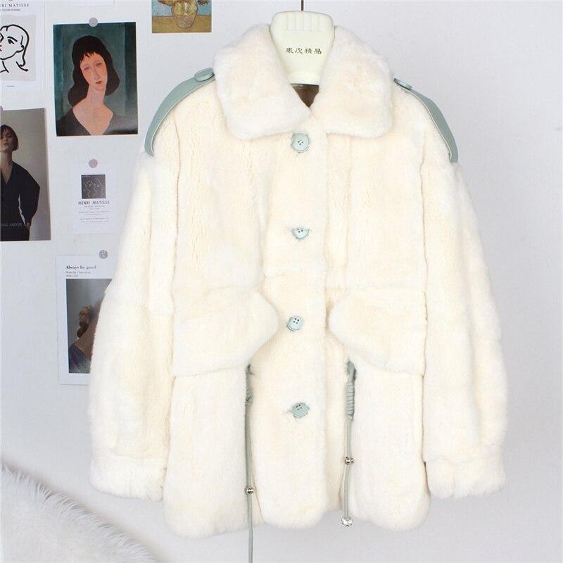 النمط البريطاني الشتاء المرأة الجلد كله ريكس الأرنب معطف الفرو موضة عادية عالية الجودة ملابس خارجية الفراء معاطف الإناث الملابس