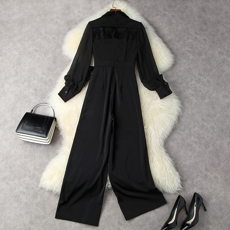 Black Jumpsuits Women Rompers 2021 Fall OL New Notched Collar Tassels Long Sleeve Lace-Up Waist Bow Slim Draped Wide Leg Pants enlarge