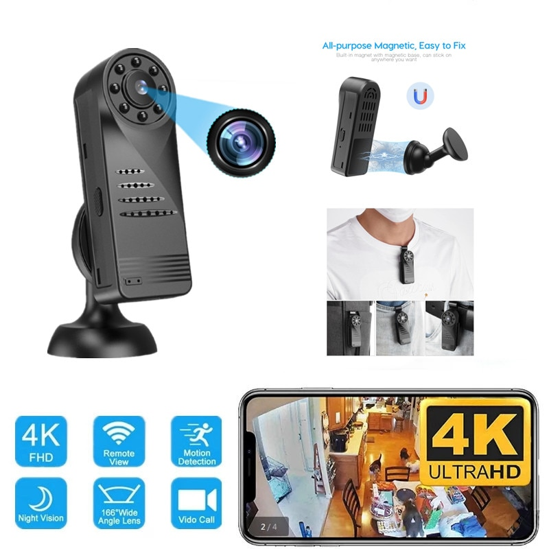 المحمولة واي فاي HD كامل 4K كاميرا رقمية صغيرة مايكرو كام المغناطيسي كاميرا يمكن حملها بالجسم كشف الحركة لقطة حلقة تسجيل كاميرا الفيديو