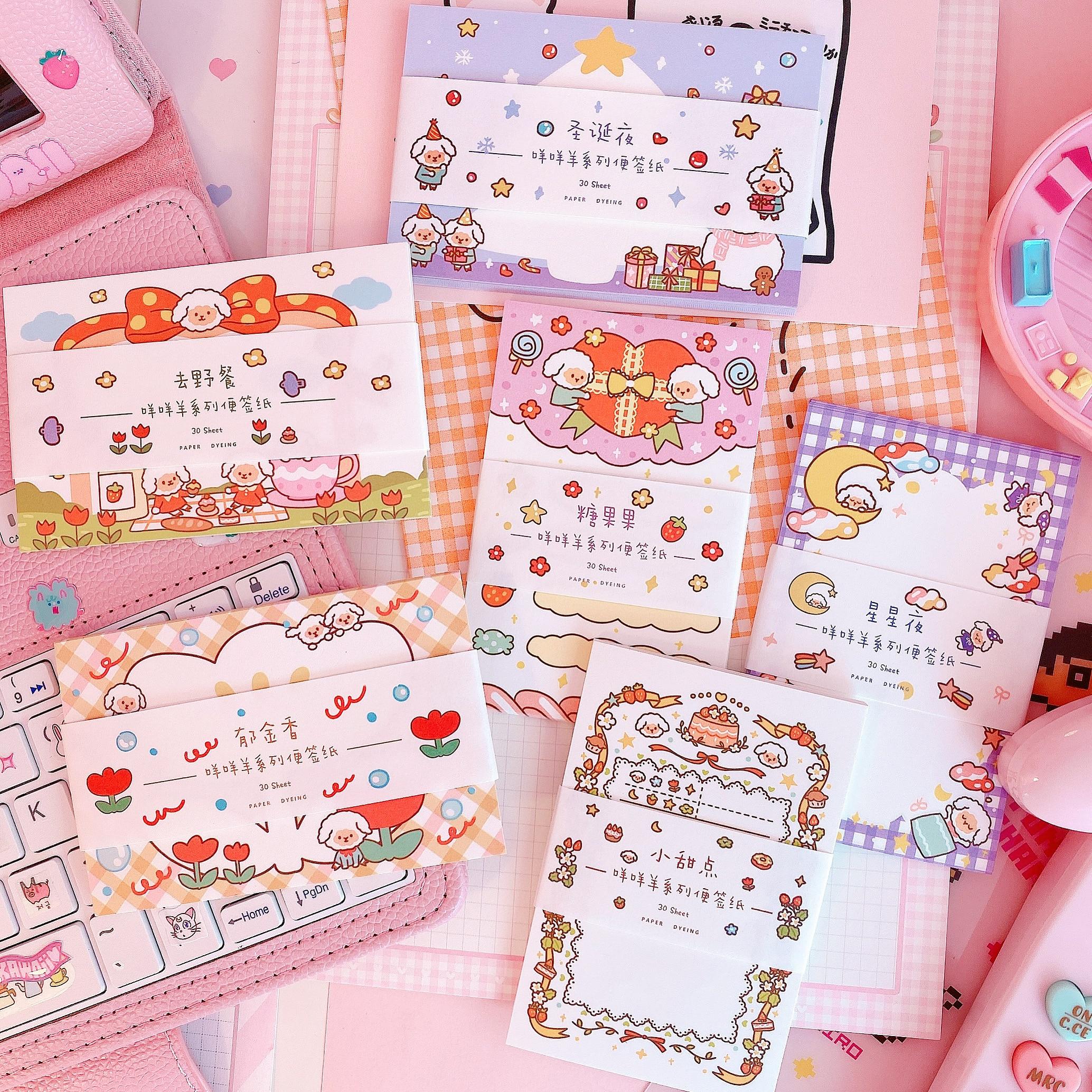 30Sheets Kawaii Cartoon Animal Sheep Stars Flowers Candy Memo Pad Sticky Notes Notepad Diary Notes