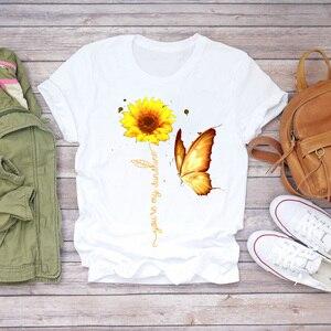 Женские футболки, акварельный принт подсолнечника бабочки, лето-осень, с принтом, Женская графическая футболка, женская футболка