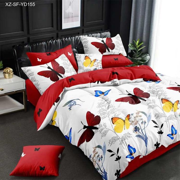 فراشة طقم سرير الملك/الملكة حاف مجموعة غطاء الفراش الفاخرة الطباعة الرقمية أغطية سرير طقم سرير حجم الملكة تصميم عصري
