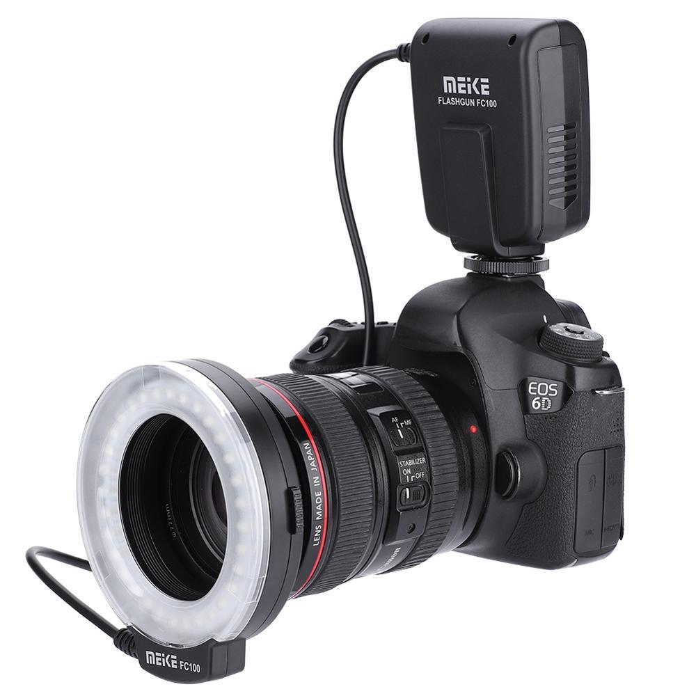 Meike FC-100 FC100 دليل LED حلقة ماكرو ضوء فلاش مع 8 محول حلقة لكانون نيكون الرقمية DSLR كاميرا استوديو فلاش