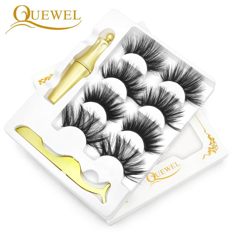 Juego de 4 pares de pestañas magnéticas Quewel de 25mm Pestañas postizas delineador de ojos, extensores de pestañas magnéticas, delineador de ojos líquido y Kit de pinzas