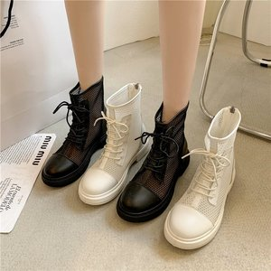 Summer Mesh Boots Women Fashion Lace Up Ankle Boots Woman Shoes Black Sandals Hollow Breathable Zipper Socks Boots Square Heel