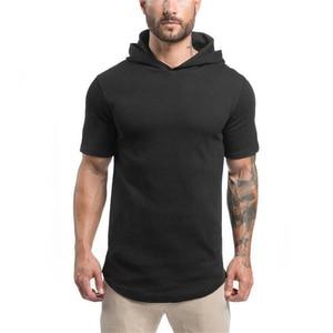 Men hoar short sleeve T-shirt male comfortable hooded street cotton T-shirt pure color exercise muscle men's T-shirt