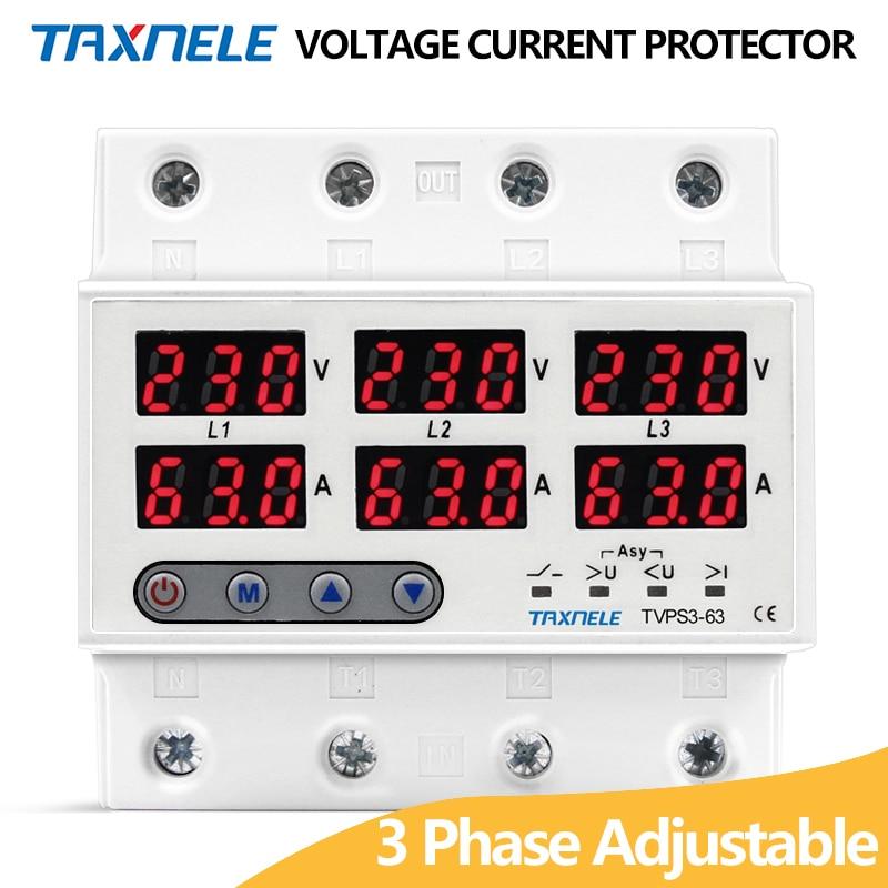 3 protetor de relé de corrente de tensão trifásica 63a 60a 220v 3p + n sobre sob o limitador de corrente de relé de tensão ajustável proteger Disjuntores    -